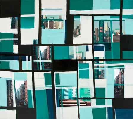 Monika Humm Global - Hongkong 70, 2014 Mischtechnik auf Leinwand, 170x190x5cm