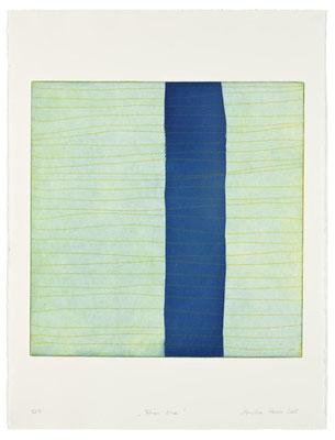 Monika Humm Aran - Blue, 2005, Aquatinta und Strichätzung, 2 Platten, PG 50x50cm auf Bütten 76x57cm
