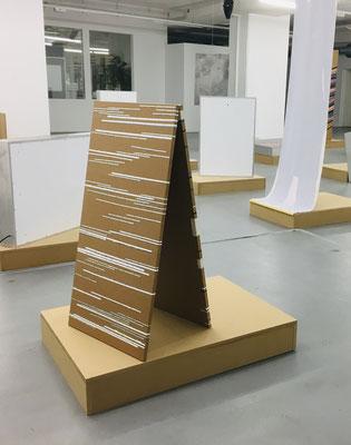 Monika Humm, Linien und Horizonte 1, 2020, Mischtechnik auf MDF, 100x50x1,5cm