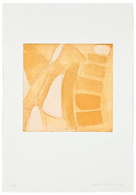 Monika Humm Aquatinta 3 - yellow-ochre 2, PG 26,5x27 cm, Bütten 57x39cm