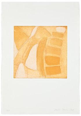 Monika Humm Aquatinta 3 - yellow-ochre 2, PG 26,5x27 cm, Bütten 57x39cm