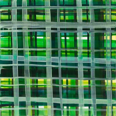 Monika Humm constructed 9, 2016, Acrylmalerei auf Leinwand, 140x140x7cm