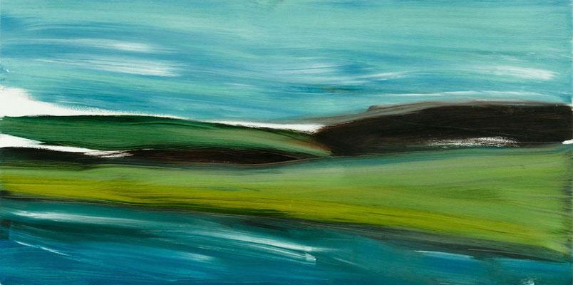 Monika Humm, Landscapes - Places of Longing 7, 2020, Oel auf MDF, 50x100x1,5cm