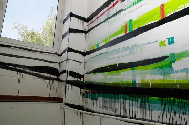Monika Humm going on 27, Wandmalerei, 2008, Acryl auf LW und Putz, Treppenhaus, 2-Etagen, 4x10m,  Neuland,  München, 2008