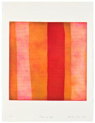 Monika Humm Aran - Red 8, 2005, Aquatinta und Strichätzung, 4 Platten, PG 50x50cm auf Bütten 76x57cm