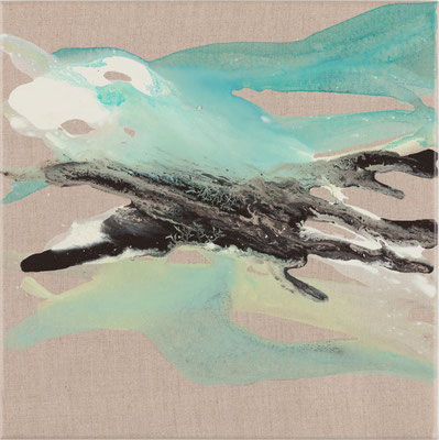 Monika Humm  Volcanism-Floating 18, 2018, Acrylmalerei auf Leinwand, 40x40x2cm
