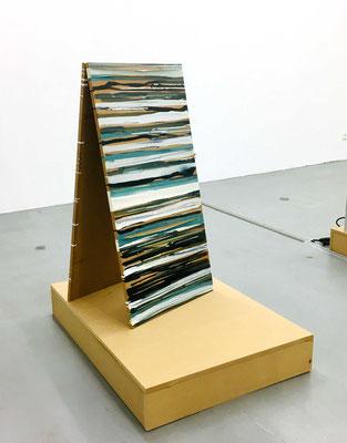 Monika Humm, Linien und Horizonte 3, 2020, Mischtechnik auf MDF, 100x50x1,5cm