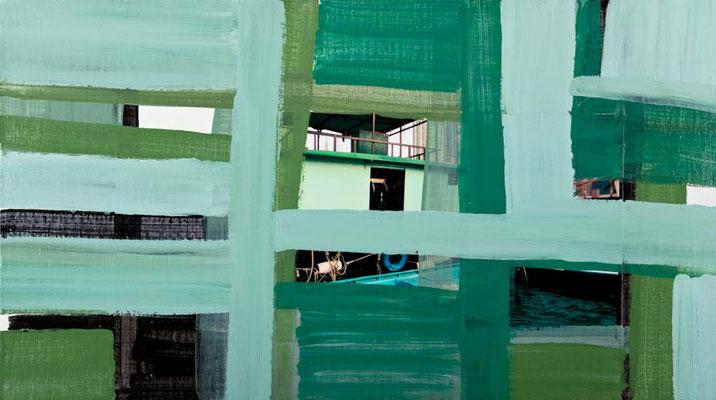 Monika Humm Global - Hongkong 43, 2012 Mischtechnik auf Leinwand/MDF,  55x100x0,5cm