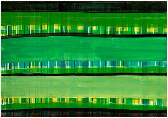 Monika Humm Primavera 4, 2016, Acrylmalerei auf Holz, 70x100x3,5cm
