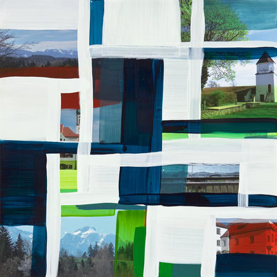Monika Humm Schongau 2, 2014, Malerei in Mischtechnik auf Aludibond, 50x50x0,5cm