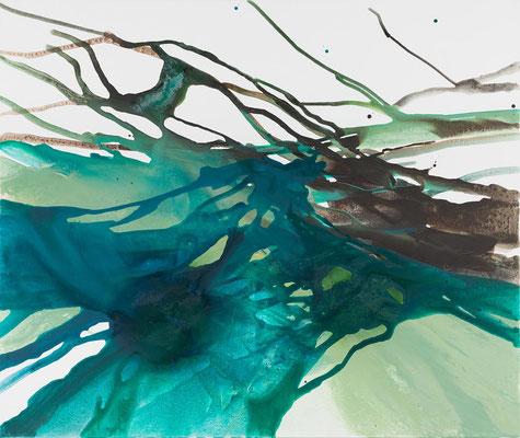 Monika Humm Volcanism-Floating 17, Acrylmalerei auf Leinwand, 130x155x2cm