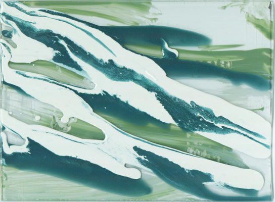 Monika Humm  Volcanism-Floating 3, 2017, Acrylmalerei auf Acrylglas, 17x20x2cm