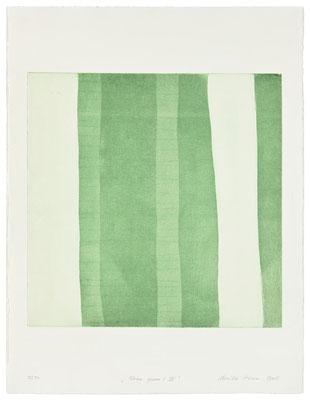 Monika Humm Aran - Green 9, 2005, Aquatinta und Strichätzung, 3 Platten, PG 50x50cm auf Bütten 76x57cm