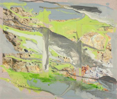 Monika Humm  Volcanism 8, 2017, Mischtechnik auf LW u. Hartfaser, 47x56x0,5cm