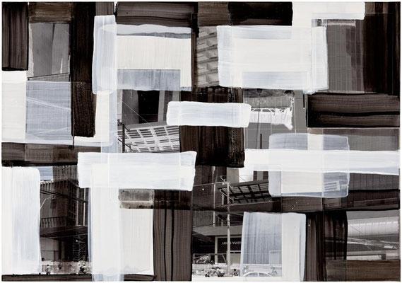 Monika Humm Global - Men at Work 23, 2015 Mischtechnik auf Holz, 70x100x3,5cm