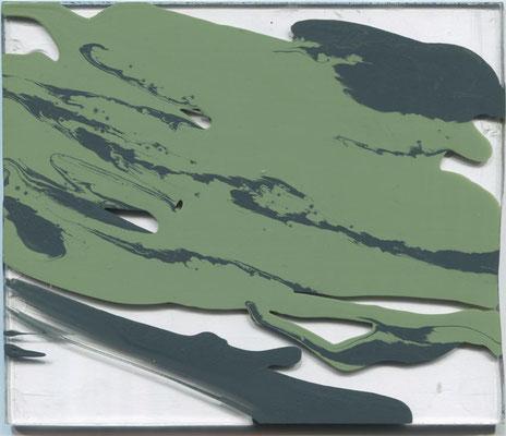 Monika Humm  Volcanism-Floating 5, 2017, Acrylmalerei auf Acrylglas, 17x20x2cm