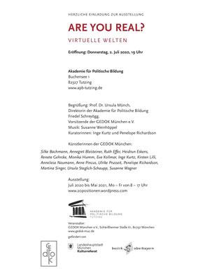 Einladungskarte Are you real? 2.7.2020, Akademie für Politische Bildung, Tutzing