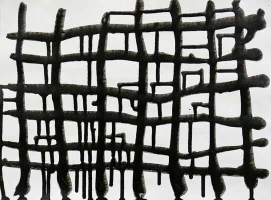 Monika Humm, Connected 7.3, Acryl auf Papier, 25x35 cm
