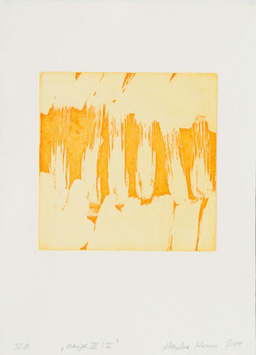 Monika Humm Aquatinta orange-III-II, 2004, PG 19,5x20, Bütten39x28,5cm