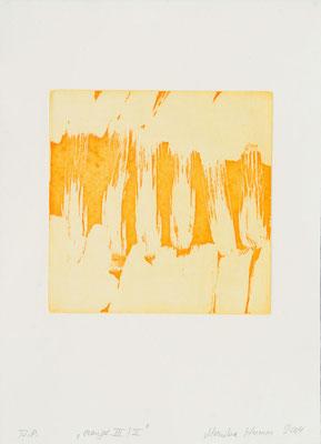Monika Humm Aquatinta orange-III-II, 2004, PG 19,5x20, Bütten39x28,5cm