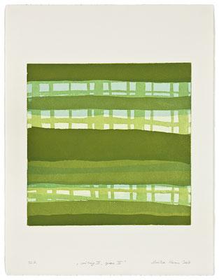 Monika Humm Waiting III - green 4 , 2007, Aquatinta, 3 Platten, PG 40x40cm auf Bütten 66x50cm