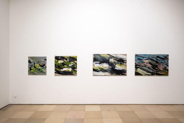 Monika Humm: Volcanism 1, 4, 5, 7, MT auf LW / Supernature, Galerie der Künstler München, 2021 Foto: Edward Beierle