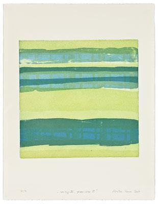 Monika Humm Waiting III - greenblue 2 , 2007, Aquatinta, 2 Platten, PG 40x40cm auf Bütten 66x50cm