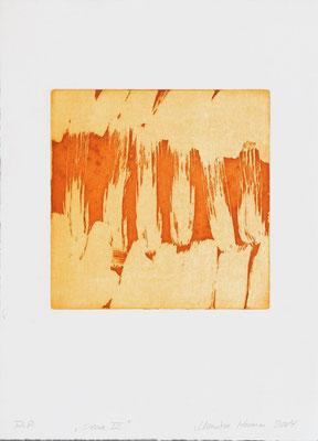 Monika Humm Aquatinta sienna III, 2004, PG 19,5x20, Bütten39x28,5cm
