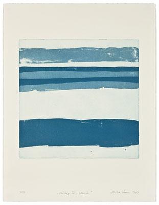 Monika Humm Waiting III - blue 1 , 2007, Aquatinta, 2 Platten, PG 40x40cm auf Bütten 66x50cm
