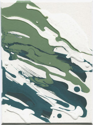 Monika Humm  Volcanism-Floating 13, 2017, Acrylmalerei auf Karton, 19,5x14,5x2cm