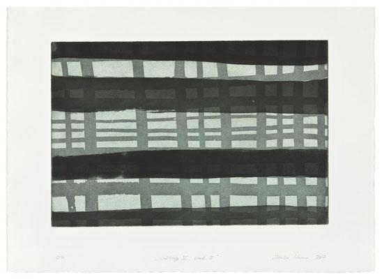 Monika Humm Waiting 4- black 2, 2007, Aquatinta, PG 40x60cm, Buetten 57x78cm
