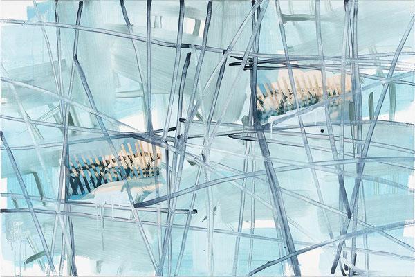 Monika Humm, Winter 5, Malerei in Mischtechnik, 2019, 100x150x2cm