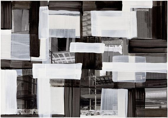 Monika Humm, global-men at work 23, 2015, MT auf Holz, 70x100x3,5cm