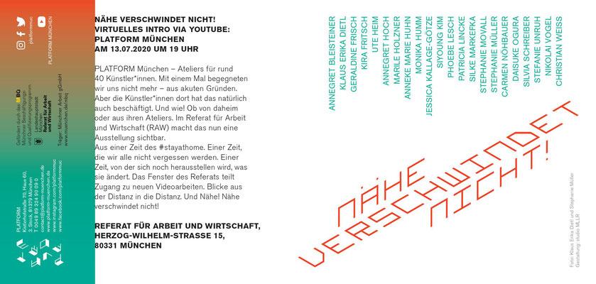Flyer_Nähe verschwindet nicht! 13.07. bis 18.09.2020 im RAW München