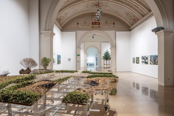 Oliver Westerbarkey: Ohne Grund und Boden, Installation / Supernature, Galerie der Künstler München, 2021 Foto: Edward Beierle