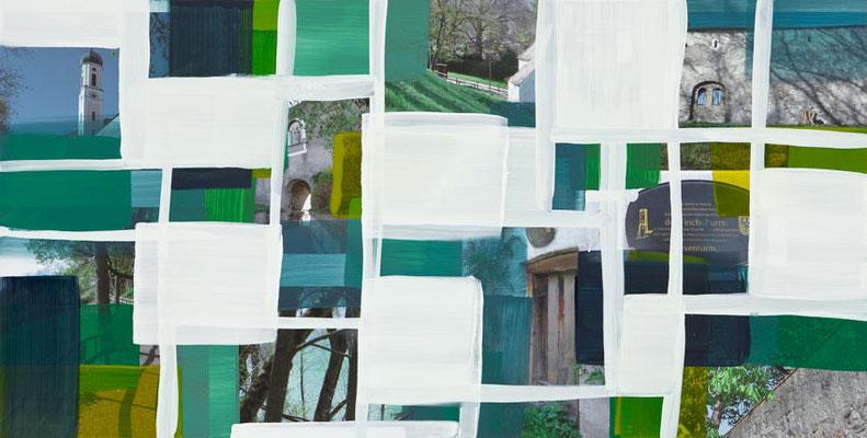 Monika Humm Schongau 4, 2014, Malerei in Mischtechnik auf Aludibond, 50x100x0,5cm
