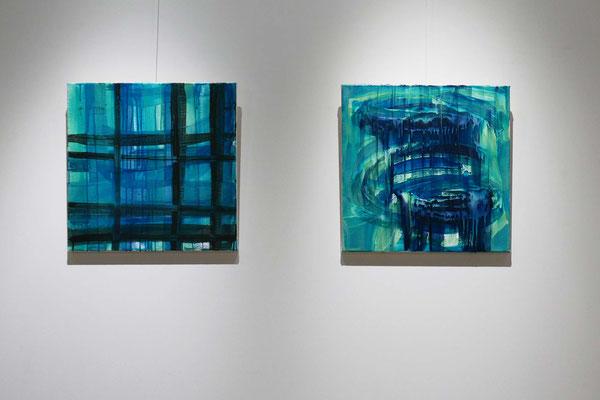 Monika Humm,Concham 1+2, 2016, Acryl auf LW, 50x50x2cm   Foto: Rainer Humm
