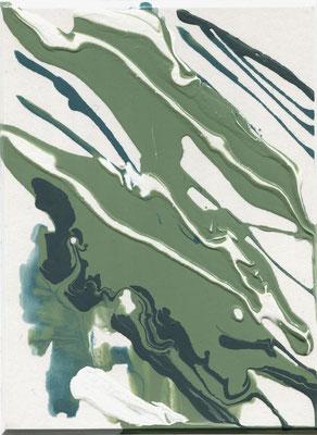 Monika Humm  Volcanism-Floating 14, 2017, Acrylmalerei auf Karton, 19,5x14,5x2cm