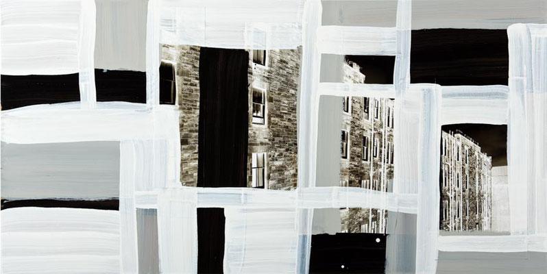 Monika Humm Global 52, 2012, Mischtechnik auf MDF, 50x100x0,5cm