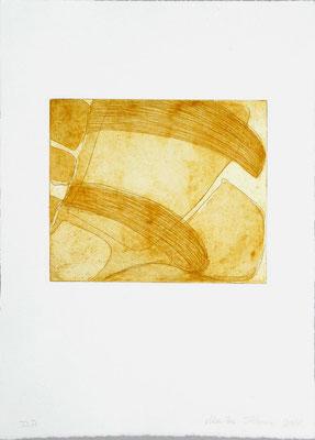 Monika Humm Aquatinta 2 - yellow-ochre 1, PG 16,5x20 cm, Bütten 37x28,5cm