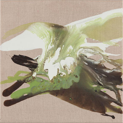 Monika Humm  Volcanism-Floating 19, 2018, Acrylmalerei auf Leinwand, 40x40x2cm