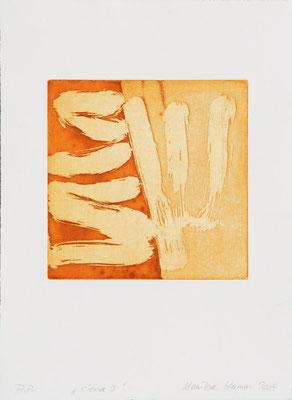 Monika Humm Aquatinta sienna I, 2004, PG 19,5x20, Bütten39x28,5cm