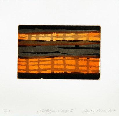 Monika Humm Waiting II - Orange I, 2007, Aquatinta, PG 13x20cm, auf Bütten 26,5x39cm