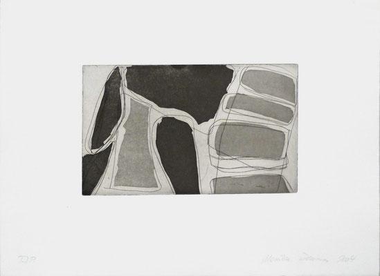 Monika Humm Aquatinta 1-black 2, PG 13,5x2cm, Bütten 28,5x39cm