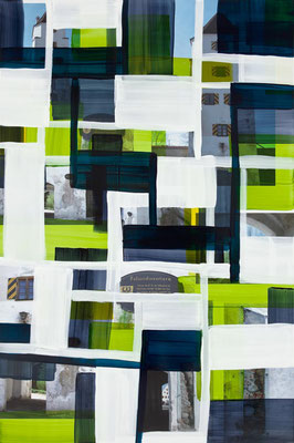 Monika Humm  Polizeidienerturm, 2014, Malerei in Mischtechnik auf Aludibond, 150x100x0,5cm