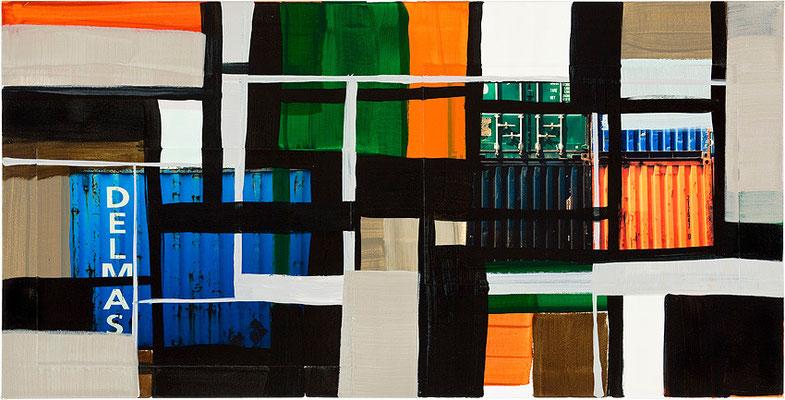 Monika Humm Global 64, 2013, Mischtechnik auf Leinwand, 60x120x2cm