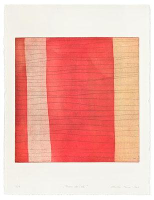 Monika Humm Aran - Red 7, 2005, Aquatinta und Strichätzung, 3 Platten, PG 50x50cm auf Bütten 76x57cm