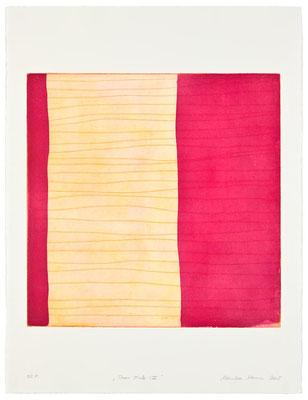 Monika Humm Aran - Pink 2, 2005, Aquatinta und Strichätzung, 2 Platten, PG 50x50cm auf Bütten 76x57cm