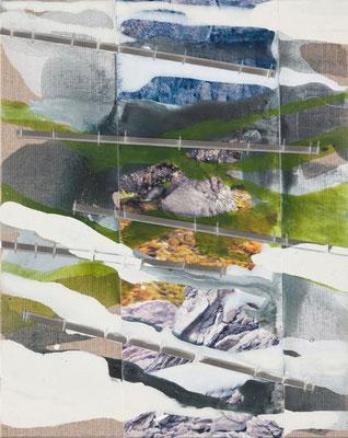Monika Humm  Volcanism - Collage 14, 2018, Mischtechnik auf Leinwand/Karton, 30x24x0,5cm