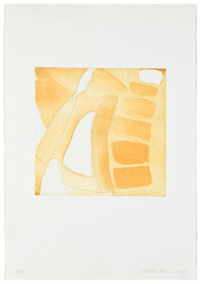 Monika Humm Aquatinta 3 - yellow-ochre 4, PG 26,5x27 cm, Bütten 57x39cm